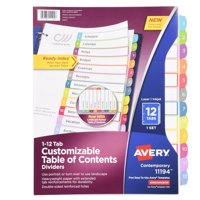 Avery(R) Customizable Table of Contents Dividers 11194, 12-Tab Set