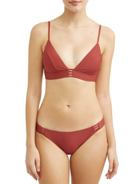 Juniors' Solid Strappy Swimsuit Top