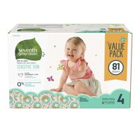 Seventh Generation Free & Clear Size 4, 22-37lbs Baby Diapers with Animal Prints, 81 count