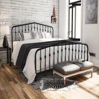 Novogratz Bushwick Metal Bed in Gray, Queen Size