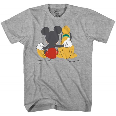Mickey Mouse & Pluto Back Disneyland Disney World Tee Funny Humor Adult Mens Graphic T-shirt Apparel - Funny Family Disney Shirts