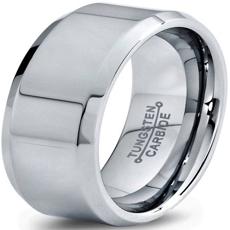 Tungsten Wedding Band Ring 8mm for Men Women Comfort Fit Beveled Edge Polished Lifetime Guarantee