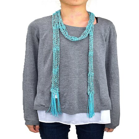 Crochet Ruffle Scarf - Crocheted Beads Bling Scarf with Fringe (Aqua)