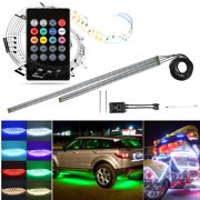 TSV 4Pcs Car LED Neon Undercar Glow Light Underglow Atmosphere Decorative Bar Lights Kit Strip,