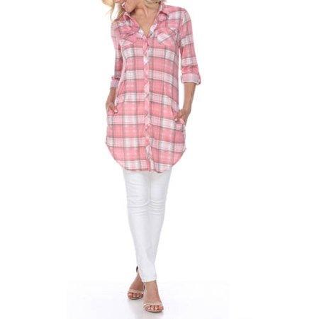 Women's Piper Plaid Tunic Top (Ladies Tunic T-shirt Tee)