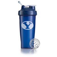 BlenderBottle 28oz Classic Shaker Cup with Wire Whisk BlenderBall and Carrying Loop BYU Blue