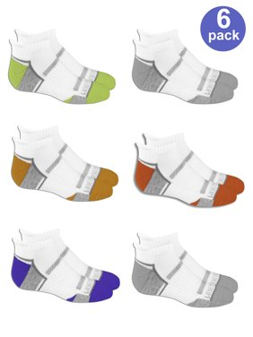 Fruit of the Loom Everyday Active Cushioned Low Cut Tab Socks with Arch Support, 6 Pairs (Big Boys)
