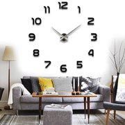 3D Large Number Wall Clock Mirror Sticker Modern Home Office Decor Art DIY Craft Black