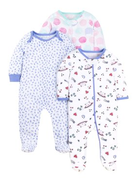 100% Organic Cotton Sleep 'N Play Pajamas, 3-pack (Baby Girls)
