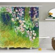Flower Home Decor Shower Curtain, Traditional Japanese Cherry Blossom Sakura Tree Petals Grass Land Paint