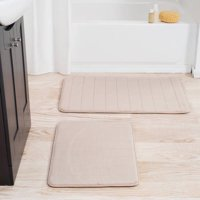Somerset Home 2-Piece Memory Foam Striped Bath Mat Set