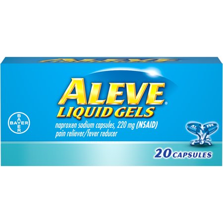 - Aleve Liquid Gels w Naproxen Sodium, Pain Reliever/Fever Reducer, 220 mg, 20 Ct