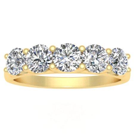 Certified 1.00ctw Diamond Five Stone Wedding Band in 14k Yellow Gold (G-H, (5 Stone Diamond Wedding Band)