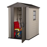 Keter Factor 4' x 6' Resin Storage Shed, All-Weather Plastic Outdoor Storage, Beige/Taupe