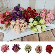 fb6f5f7914b5 Artificial Bouquet 12 Head Rose Silk Flowers Fake Leaf Wedding Party Decor