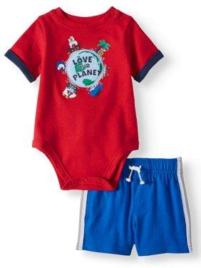 Graphic Bodysuit & Knit Side Stripe Shorts, 2pc Outfit Set (Baby Boys)