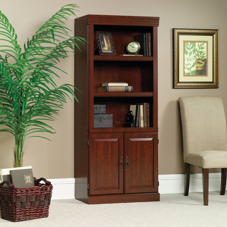 "Sauder 71"" Heritage Hill Library With Doors, Classic Cherry Finish"