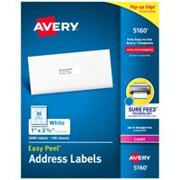 """Avery Easy Peel Address Labels, Sure Feed Technology, Permanent Adhesive, 1"""" x 2-5/8"""", 3,000 Labels (5160)"""