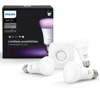Philips Hue White and Color Ambiance A19 Smart Light Starter Kit, 60W LED, 3-Pack