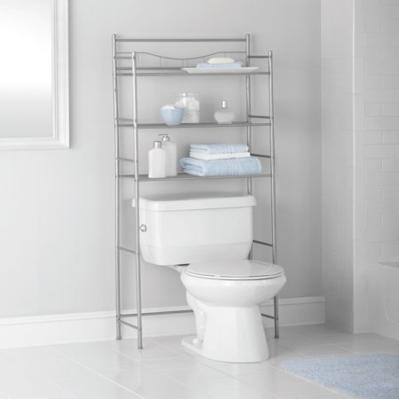 Mainstays 3-Shelf Bathroom Over-the-Toilet Space Saver with Liner, Satin Nickel