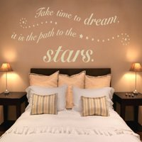Take Time to Dream, it is the Path to the Stars Wall Decal - Wall Sticker, Vinyl Wall Art, Home Decor, Wall Mural, quotes and sayings - 1362 - Gold, 59in x 22