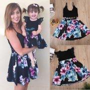 e9d0784684 Cute Daughter Mother Matching Outfits Floral Kids Dress Women Top+Skirt Set