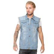 d3e530b3c403 Men s Denim Vest Ripped Jean Coat Causal Jacket Collar Sleeveless Shirt  Biker Sky Blue Small