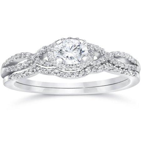 Pompeii3 3/4ct Diamond Infinity Engagement Wedding Ring Set 14K White