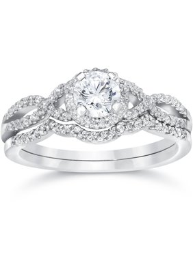 Pompeii3 3/4ct Diamond Infinity Engagement Wedding Ring Set 14K White Gold