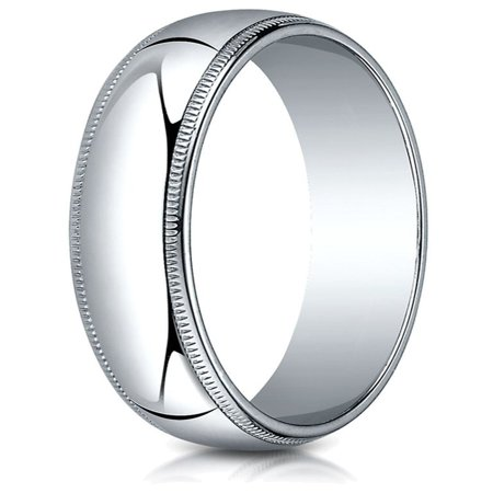 10k White Gold 5.0mm Traditional Dome Oval Ring with Milgrain