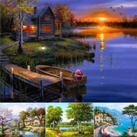 Girl12Queen 5D Diamond Landscape Embroidery Painting Cross Stitch Craft Home Room Decor