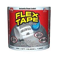 Flex Tape Rubberized Waterproof Tape, 4 inches x 5 feet, Clear