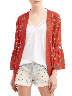 Juniors' Floral Printed Kimono and Tank Top 2Fer