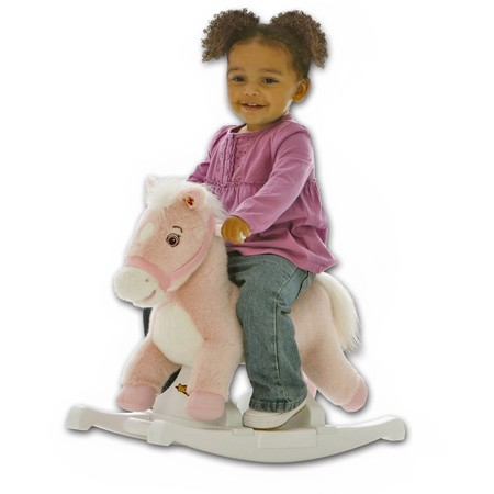 Rockin' Rider Pony Rocker Animated Plush Rocking Horse, Pink ()
