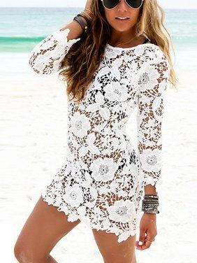OUMY Women Swimwear Bikini Cover Up Lace Crochet Beach Dress