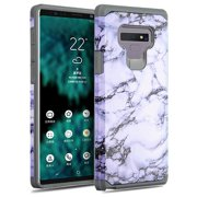 Samsung Galaxy Note 9 - Phone Case Protective Shockproof Hybrid Rubber Rugged Cover WHITE MARBLING Slim