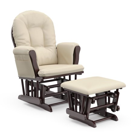 Storkcraft Bowback Glider and Ottoman Espresso with Beige Adult Club Glider Ottoman