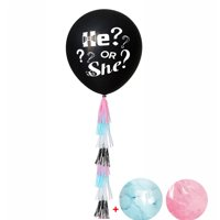 36in Latex Balloon,Justdolife He or She Pop to See Decorative Balloon Party Balloon with Confetti and Tassel for Gender Reveal Party