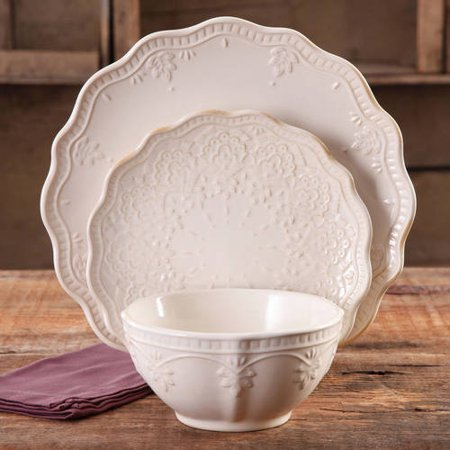 The Pioneer Woman Farmhouse Lace Dinnerware Set, 12 Piece ()