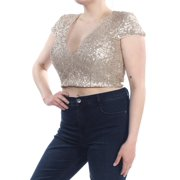 4965d955798 DRESS THE POPULATION Womens Gold Sequined Short Sleeve V Neck Crop Top  Party Top Size: