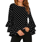 OUMY Women Trumpet Long Sleeve Polka Dots Blouse Tops Plus Size