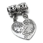 3d70bd9cb Sterling Silver Grandmother Granddaughter Family Daisy Dangle Bead Pendant  For European Charm Bracelets Fits Pandora
