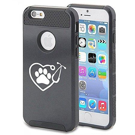 Apple iPhone 6 Plus 6s Plus Shockproof Impact Hard Soft Case Cover Heart Stethoscope Vet Tech Veterinarian (Black),MIP