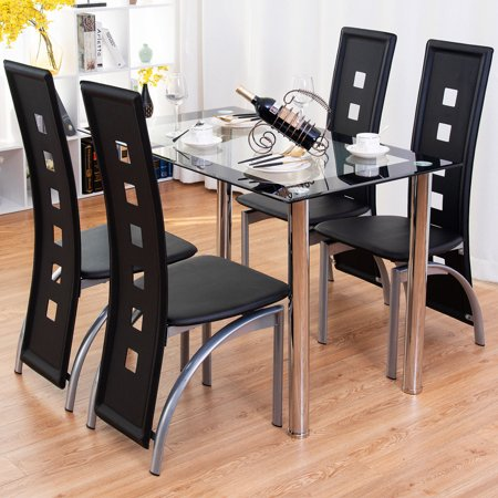 Glass Antique Dining Table Set (Costway 5 Piece Dining Set Glass Table and 4 Chairs Home Kitchen Breakfast Furniture)