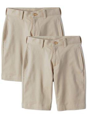 Boys School Uniform Super Soft Flat Front Shorts, 2-Pack Value Bundle