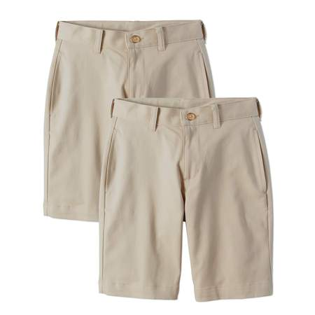 Wonder Nation Boys School Uniform Super Soft Flat Front Shorts, 2-Pack Value Bundle ()