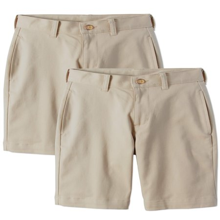 Boys Flat Front Shorts - Wonder Nation School Uniform Super Soft Flat Front Shorts, 2-Pack Value Bundle (Little Boys & Big Boys)