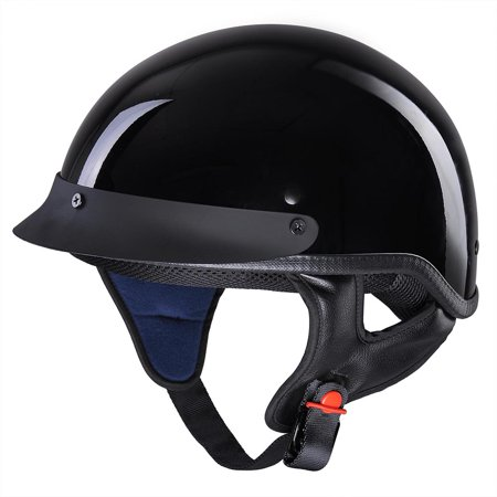 Gpa Helmets (AHR Motorcycle Half Face Helmet DOT Approved Bike Cruiser Chopper High Gloss Black)