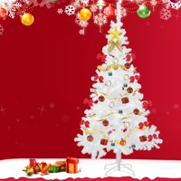6Ft White Christmas Tree Artificial Unlit Premium Spruce Hinged Tree with Stand Holiday Festival Decor Indoor & Outdoor