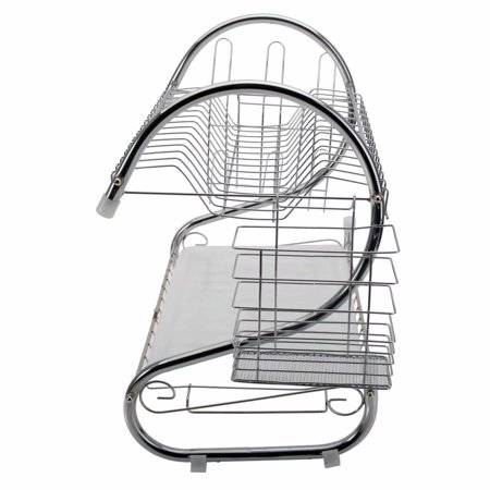 Dish Drying Rack, 2 Tier Dish Rack with Utensil Holder, Cup Holder and Dish Drainer for Kitchen Counter Top, Plated Chrome Dish Dryer Silver 15.74 x 14.57 x 9.84 inch